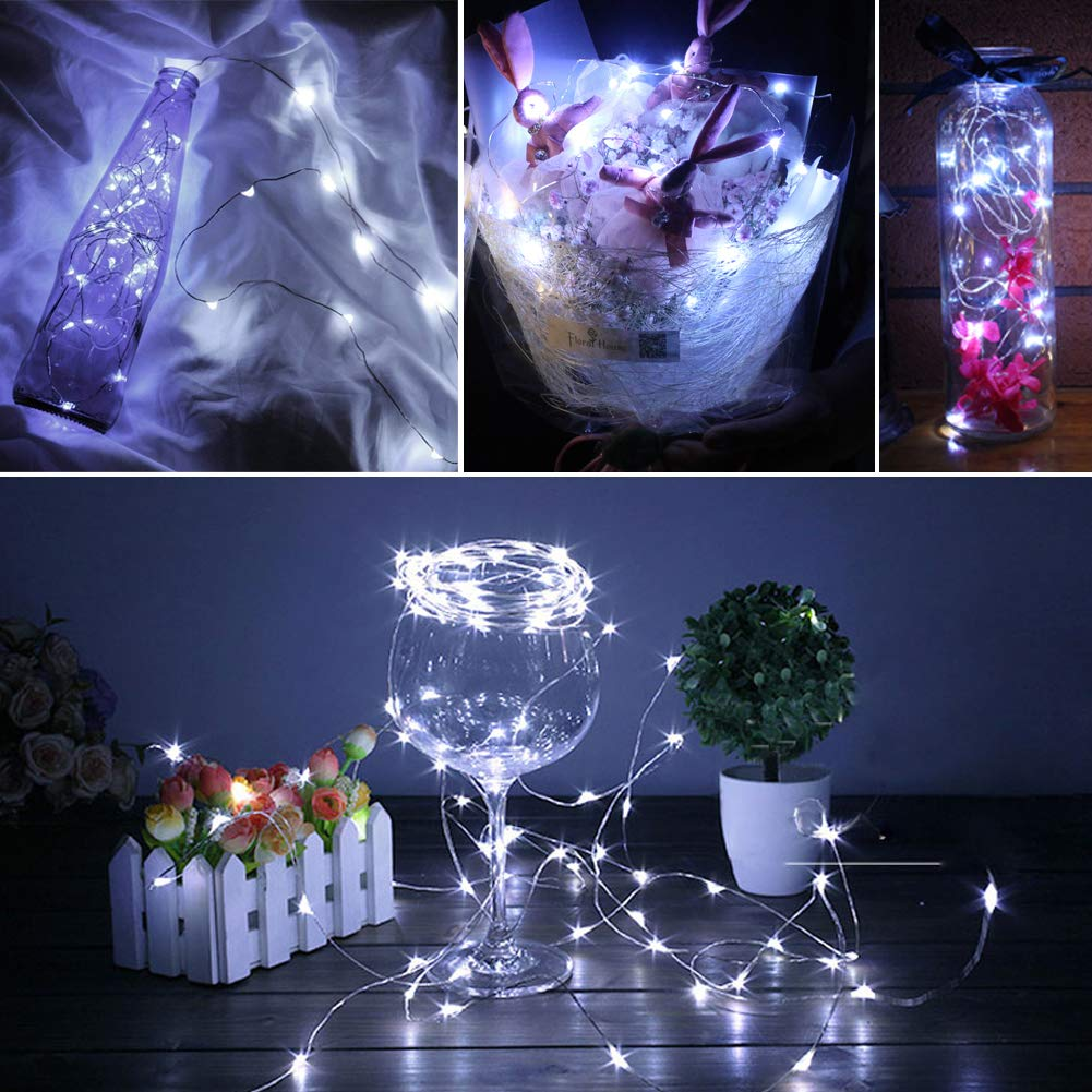 Twinkle Star 33FT 100 LED Copper Wire String Lights Fairy String Lights Battery Operated Waterproof 8 Modes LED String Lights with Remote Control Decor for Christmas Wedding Party Home 2 Pack Blue