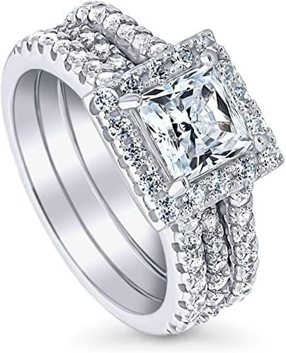 INTRICATE 4 CT Princess Cut Cubic Zirconia Bridal Engagement Wedding Ring SIZE 5