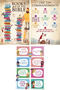 "UMA Gifts Bible Posters for Kids (Set of 3) Books Of The Bible | The Ten Commandments | Bible Verses | 16"" x 24"" 