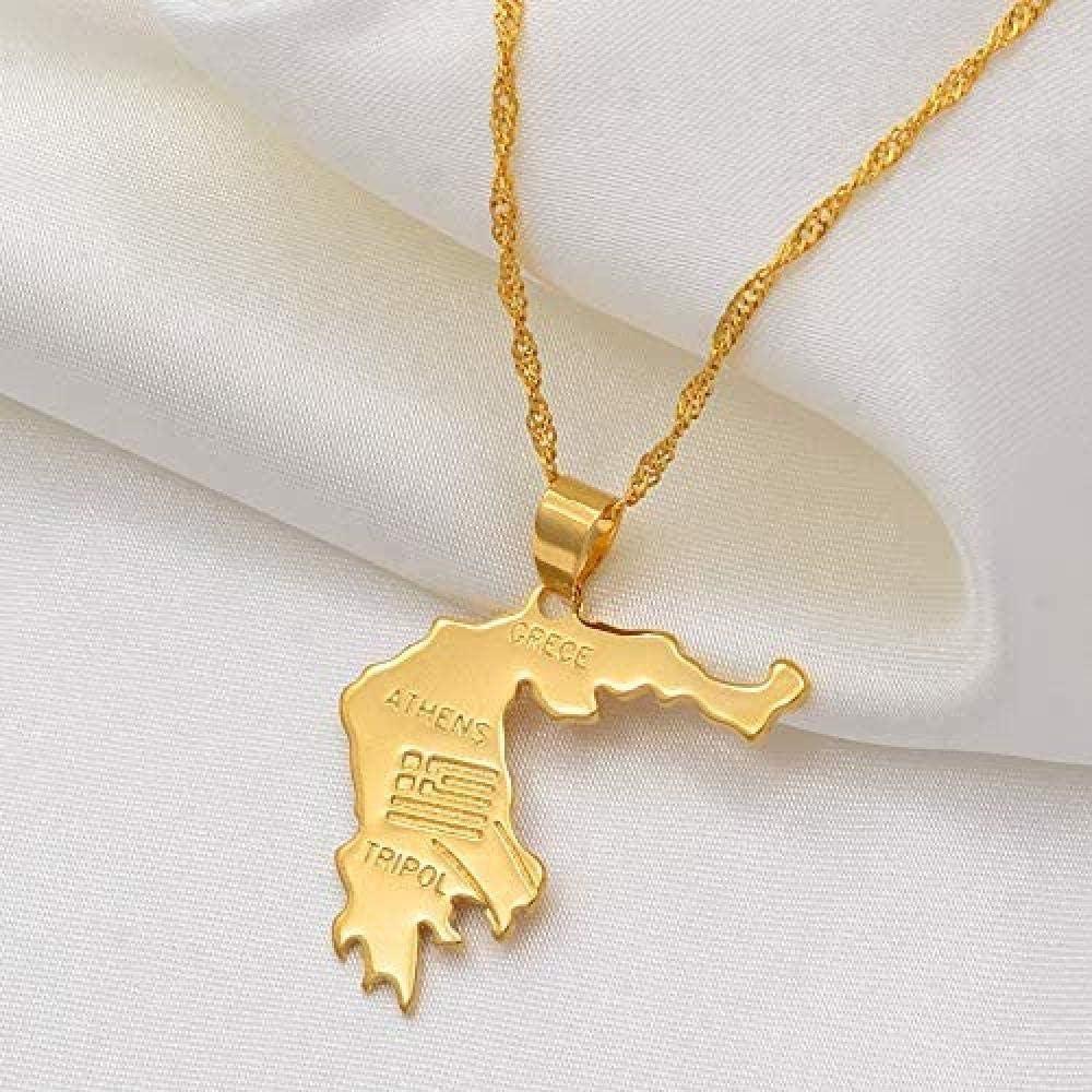 Yiffshunl Collar, Collar, Mapa de Grecia, Colgantes, Collares, Color Dorado, joyería Griega, Regalo patriótico, Collar, Regalo