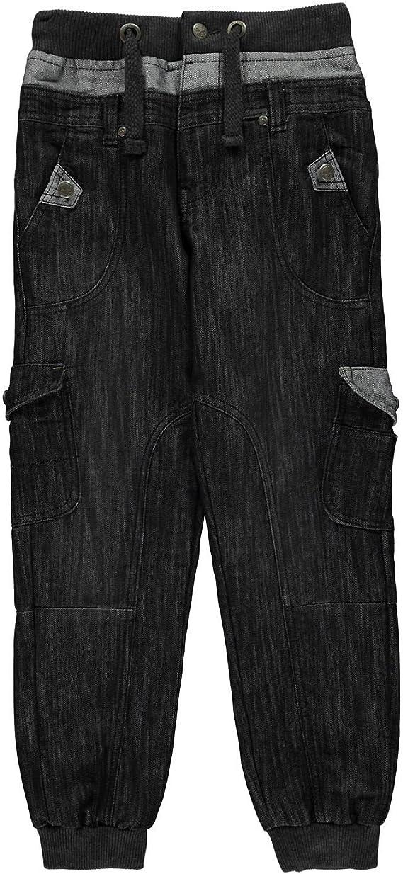 No Fear Niños Double Waist Jog Pantalones Vaqueros Negro S (7 ...