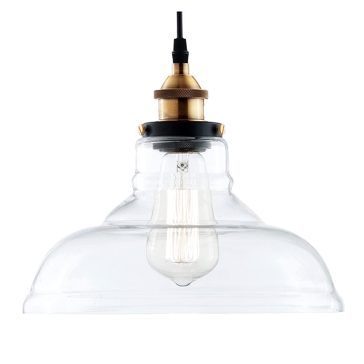 Pendant light fixtures amazon lighting ceiling fans light society classon edison pendant light clear glass shade with brushed bronze finish vintage aloadofball Gallery