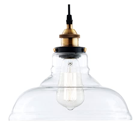 Light society classon edison pendant light clear glass shade with brushed bronze finish vintage