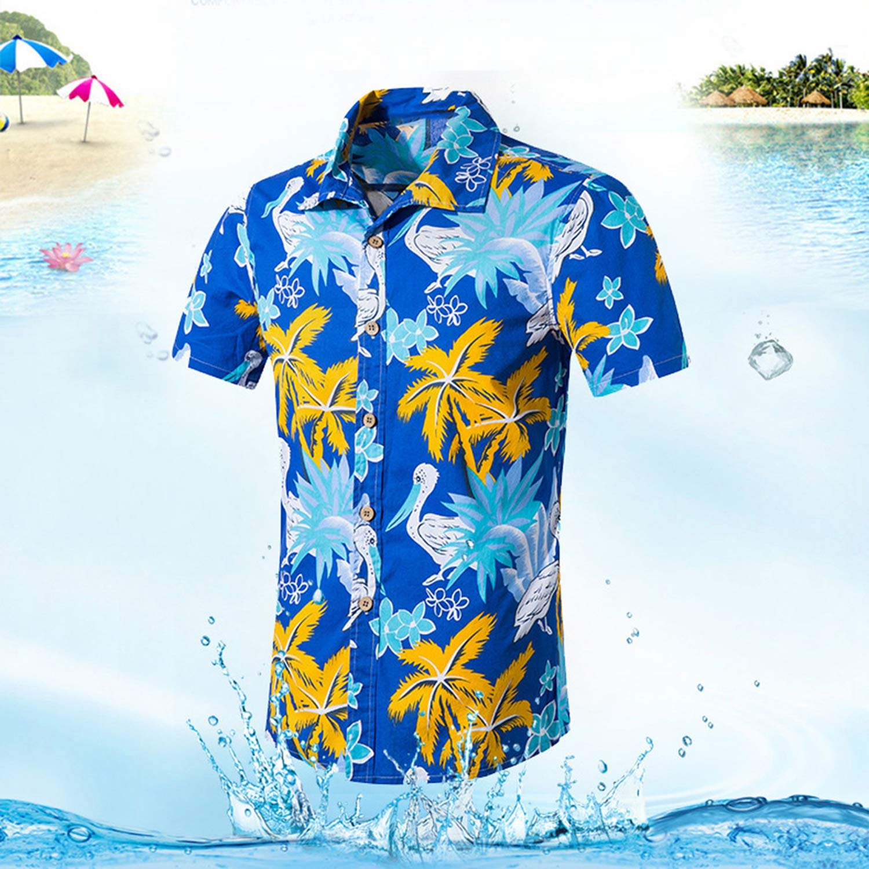 Dersimio Mens Beach Hawaiian Shirt Tropical Summer Short Sleeve Shirt Men Clothing Casual Loose Cotton Button Down Shirts White-4XL