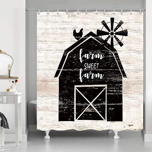 Windmill Shower Curtain Rustic Farmhouse Barn Print for Bathroom