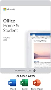 Microsoft Office Home and Student 2019 Download 1 Person Compatible on Windows 10 and Apple macOS