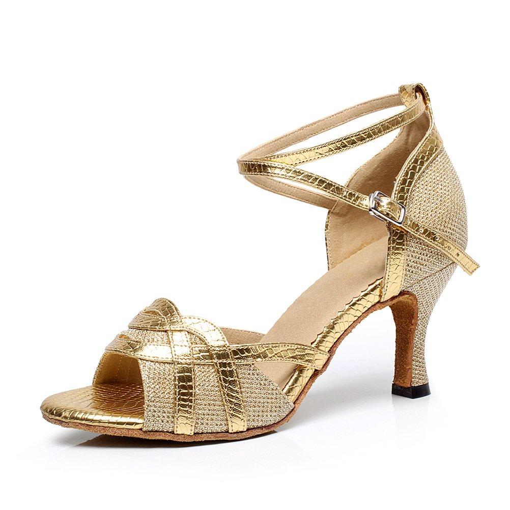 CXS Ladies Open Toe Party Wedding Heels Ballroom Dance Shoes for Salsa Tango and Practice, 2.75'' Heel,Gold PU,8.5 B(M) US