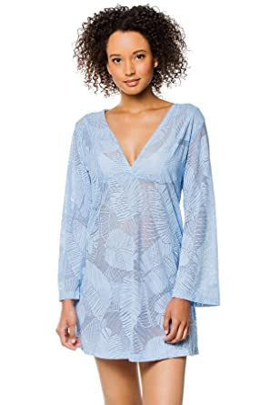 b82ef843be J. VALDI Women's Wovens Sheer Long Sleeve Tunic Swim Cover Up Blue S at  Amazon Women's Clothing store: