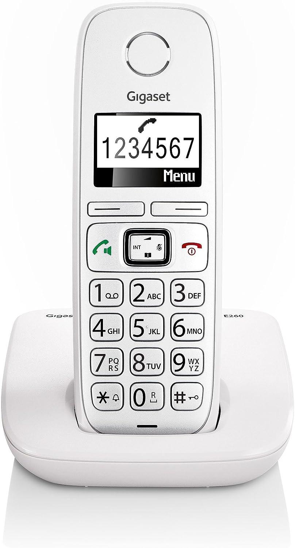 Gigaset E260 - Teléfono (Teléfono DECT, Terminal inalámbrico, Altavoz, 120 entradas, Identificador de Llamadas, Blanco): Gigaset: Amazon.es: Electrónica