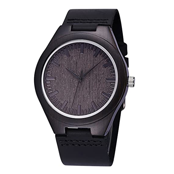 478e7209c Wooden Watch Genuine Cowhide Leather Band Fashion Retro Casual Watches for  Men and Women