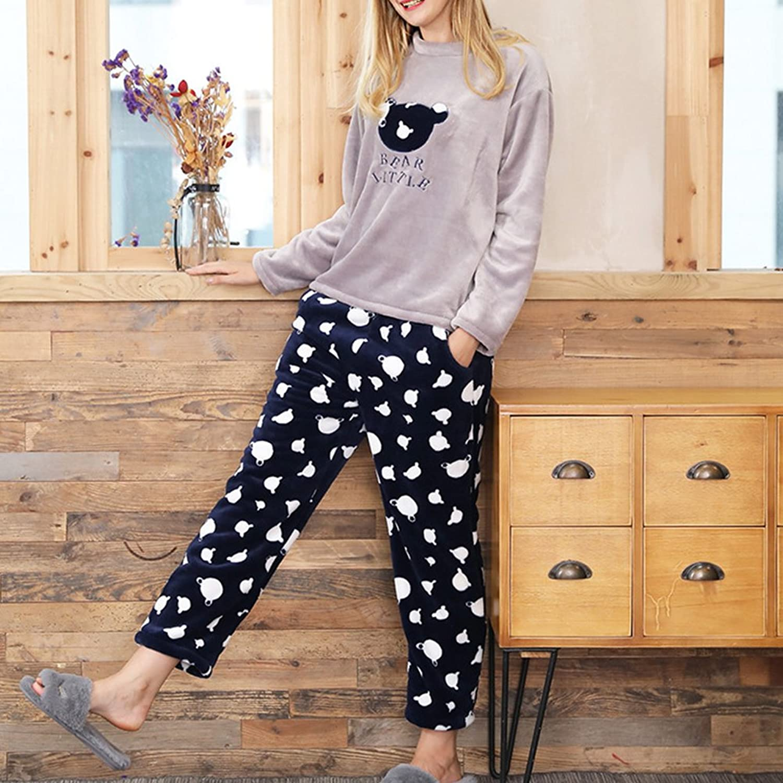 Zhhlinyuan Women Winter Flannel Warmer Casual Home Sleepwear Fashion Two-piece  Cozy Long sleeves Pyjamas Set: Amazon.fr: Vêtements et accessoires