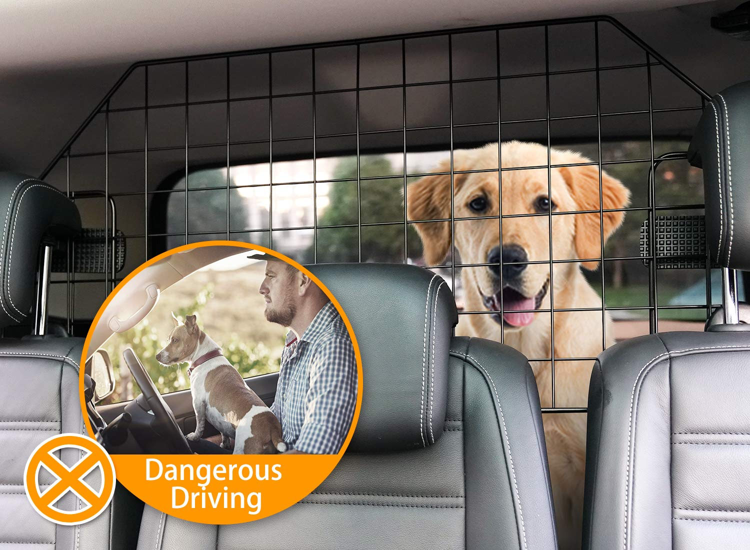SUKI&SAMI Dog Car Barrier Adjustable Pet Barrier for SUVs,Cars and Vehicles,Heavy Duty Wire Adjustable,Smooth Design,Black by SUKI&SAMI (Image #3)