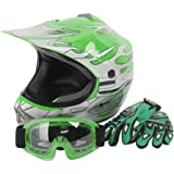 XFMT Youth Kids Motocross Offroad Street Dirt Bike Helmet Goggles Gloves Atv Mx Helmet Green Flame S