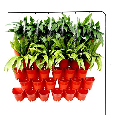 Homes Garden Self-Watering Vertical Garden Planter Indoor Outdoor Living Wall with Drip Irrigation Kit Terracotta 12 Pack (36 Pockets) #G-G707A06-US: Garden & Outdoor