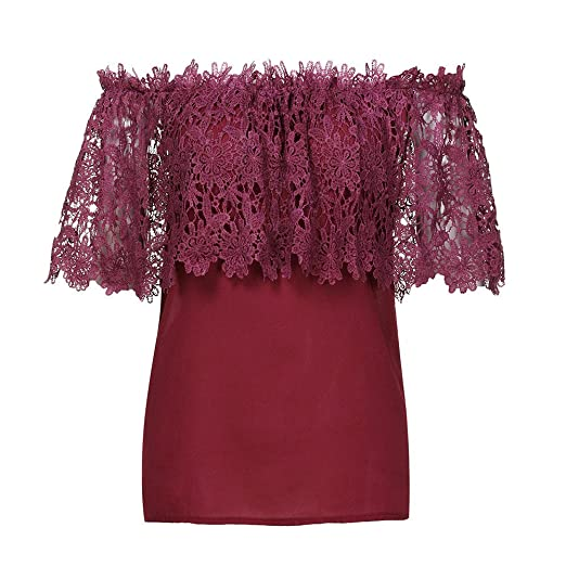 OrchidAmor Women Blouse Sexy Women Off Shoulder Casual Tops Blouse Lace Crochet Chiffon Shirt Wine Red