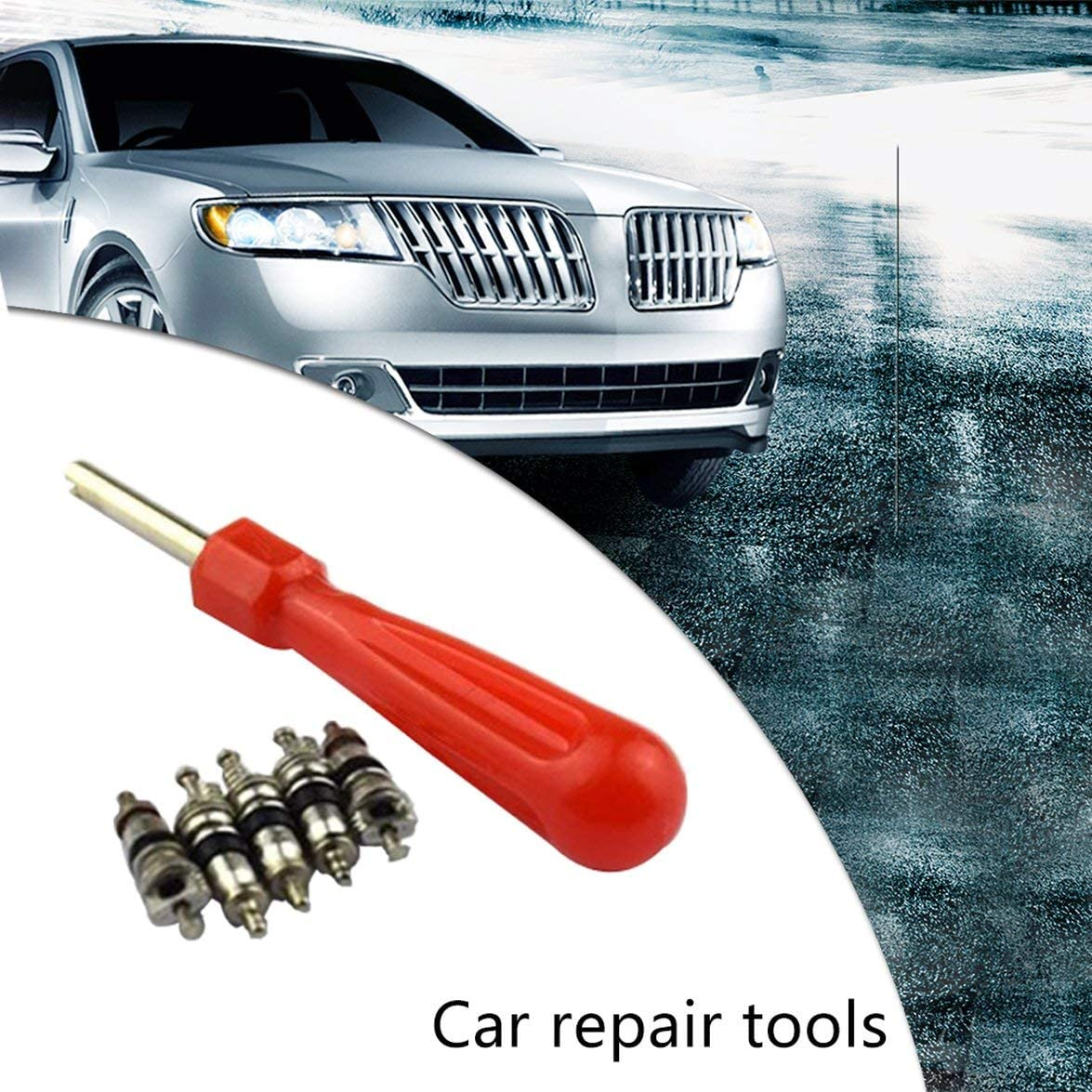 Romirofs Automobile Car Tire Valve Stem Core Remover Installer Tools with 5 Valve Cores Tire Repair Tool Kit