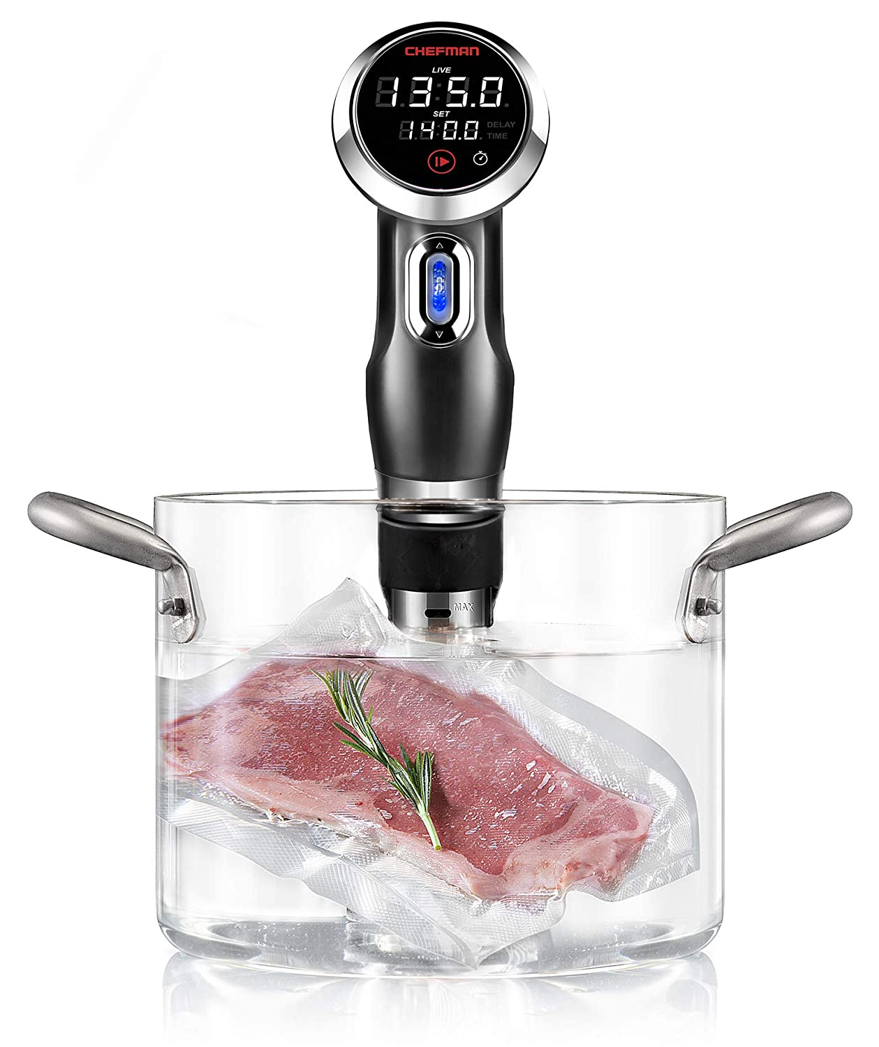 Chefman Sous Vide Immersion Circulator w/Accurate Temperature, Programmable Digital Touch Screen Display and Intuitive Controls, 1100 Watts, Black - Version 3
