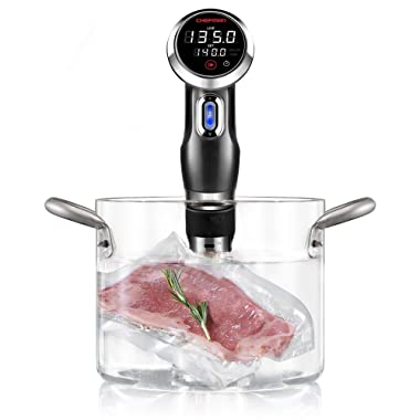 Chefman RJ39-V2-BLK Sous Vide Thermal Immersion Circulator Pod w/Accurate Temp & Time, Crystal Clear Display & Intuitive Controls, Powerful 1000w