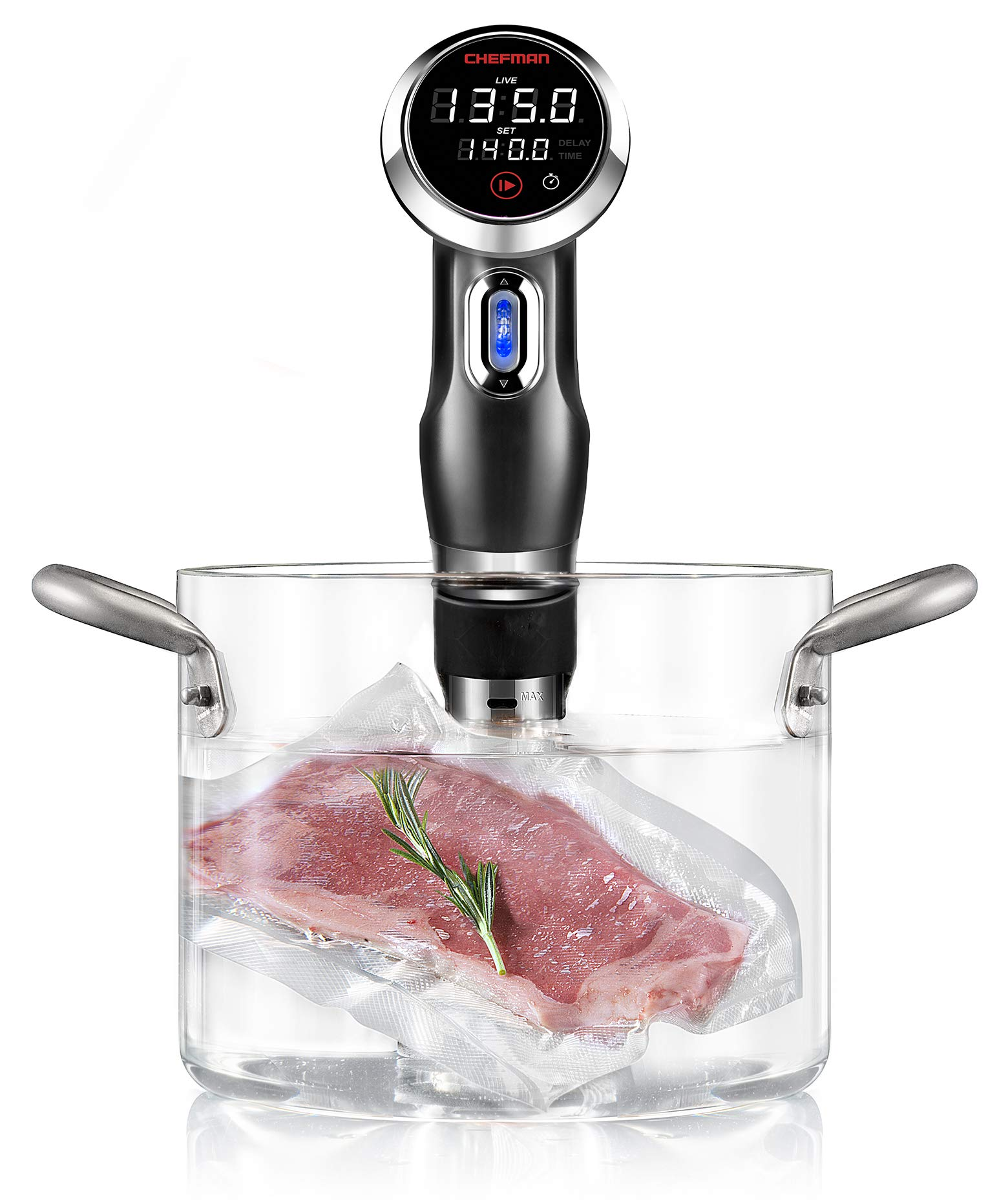 Chefman RJ39-V2-BLK Sous Vide Thermal Immersion Circulator Pod with Accurate Temp and Time, Crystal Clear Display and Intuitive Controls, Powerful 1000w, Discontinued