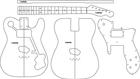 Amazon Com Electric Guitar Layout Template T Custom Musical