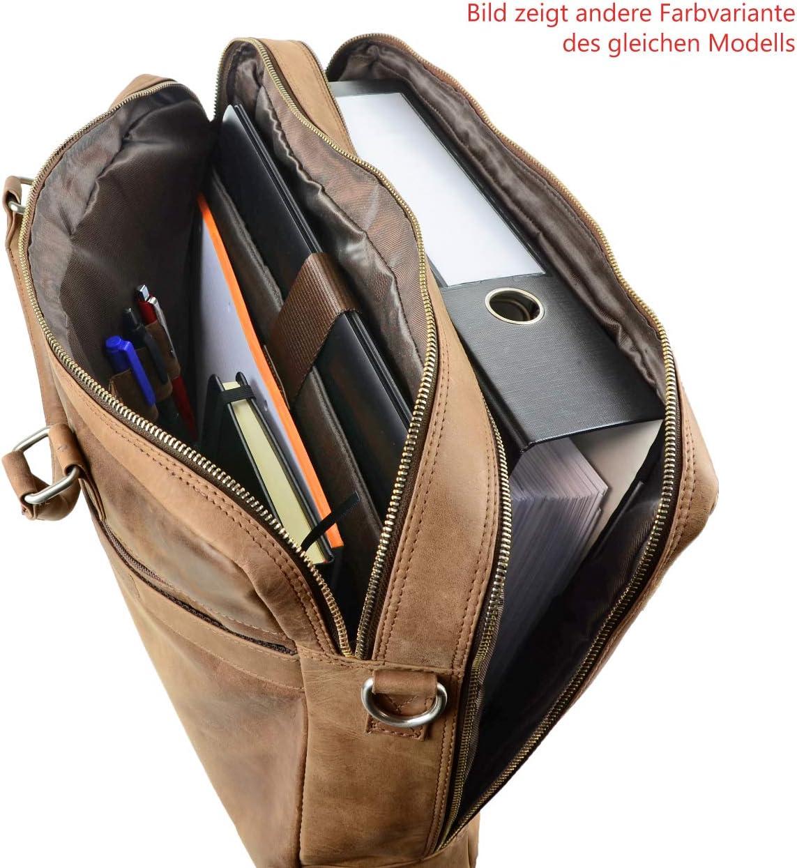 Colibri Kano Aktentasche Umh/ängetasche 15,6 Zoll Leder Herren und Damen Umh/ängetasche Laptoptasche Notebooktasche Braun