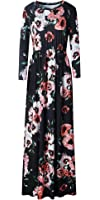 LiMiCao Women's Stretchy Floral Long Maxi Dresses with Pockets (S-XXXL)