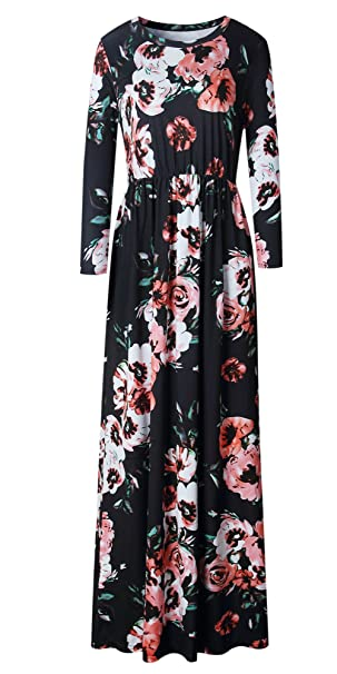 37d65531c17 LiMiCao Women Fashion Printed Long Dress Three Quarter Sleeve Retro Flower  Floor Length Maxi Dress (