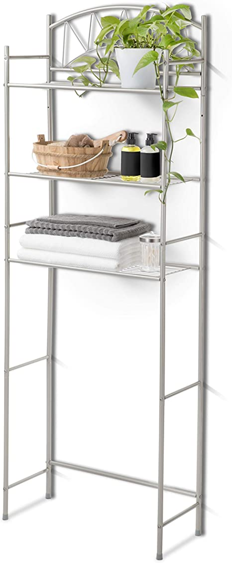 Amazon Com Home Zone Living Over The Toilet Bathroom Organizer 3 Tier Bath Storage Rack For Towels And Bathroom Essentials Simple Design Collection Kitchen Dining