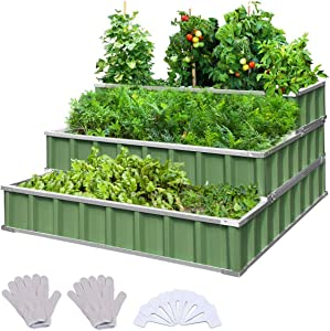 KING BIRD 3 Tiers Raised Garden Bed Dismountable Frame Galvanized Steel Metal Patio Garden Elevated Planter Box 46''x46''x23.6'' for Growing Vegetables Flower (Green)