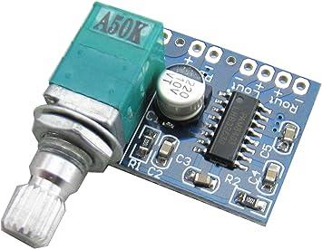 Yeeco PAM8403 Mini 5V Digital Amplificador Tablero Audio Poder Amperio USB 5V Fuente de Alimentación con Cambiar Potenciómetro: Amazon.es: Electrónica