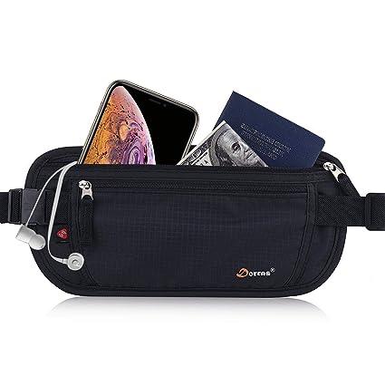 c8a698b101d5 Dorras Money Belt, Travel Wallet Passport Holder with RFID Blocking Hidden  - Fanny Pack & Waist Pack for Women Men - Black