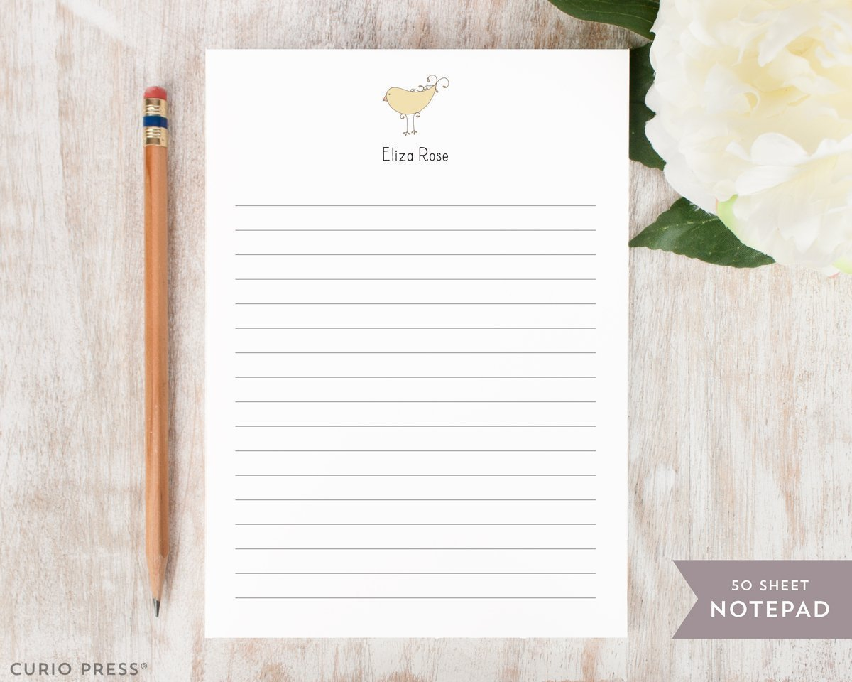 DARLING BIRD NOTEPAD - Personalized Animal Stationery/Stationary 5x7 or 8x10 Note Pad
