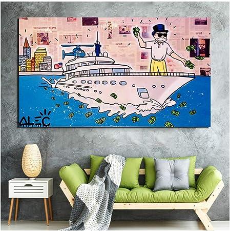 Alec Monopoly Wolf Of Wall Street lienzo pintura impresiones sala de estar decoración del hogar moderno arte de la pared pintura al óleo póster imagen -60x120cm sin marco: Amazon.es: Bricolaje y herramientas