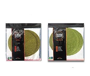 Raw Wraps, Gluten Free, Paleo, and Keto Friendly, Shelf Stable, 5 Wraps per Pack , Vegan, Non-GMO, Low Carb Tortilla Wraps, Spinach Kale Flavor