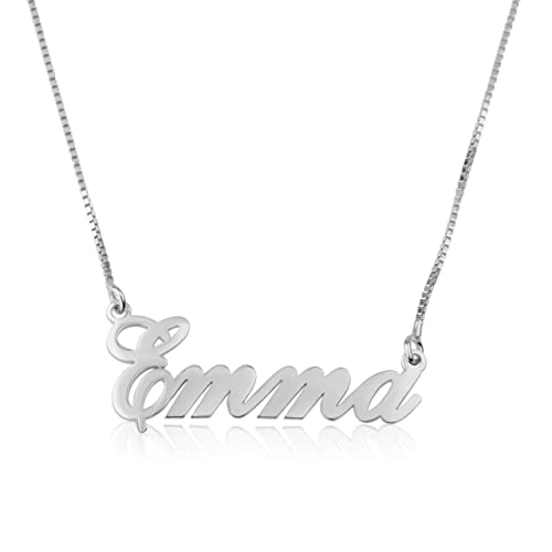 Beleco Jewelry Customize Name Necklace Custom Name 15 Font Styles Sterling  Silver Gold/Rose Plated 18k