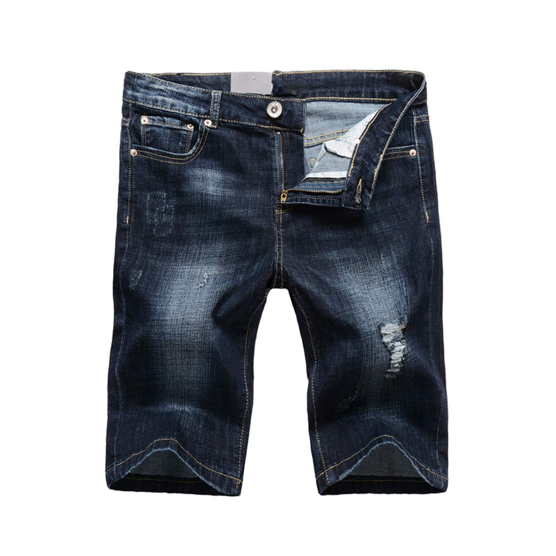 Mens Shorts Dark Blue Color Slim Fit Ripped Short Jeans Stretch Denim Shorts Men