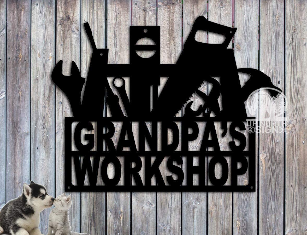 Grandpa s Workshop Sign – Dad s Workshop Sign 23.5 inches wide by 17.75 inches tall. Customize it