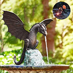 Sawasoco Statue/Fountain Dragon Garden Outdoor, Precision Casting Fire-Breathing Dragon Fountains, Garden Dragon Statue Resin Sculpture, Solid Bronze Water Feature for Home Garden Decoration