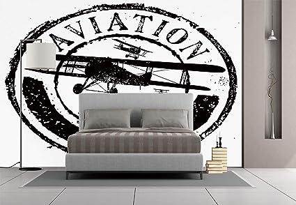 Amazon.com: Large Wall Mural Sticker [ Vintage Airplane Decor,Grunge ...