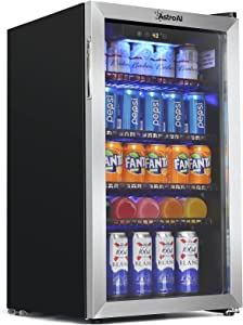 AstroAI Beverage Refrigerator and Cooler with Temperature Control - 120 Can Mini Fridge for Beer Soda or Wine - Small Drink Dispenser Machine for Office/Bar with Reversible Door and Removable Shelves