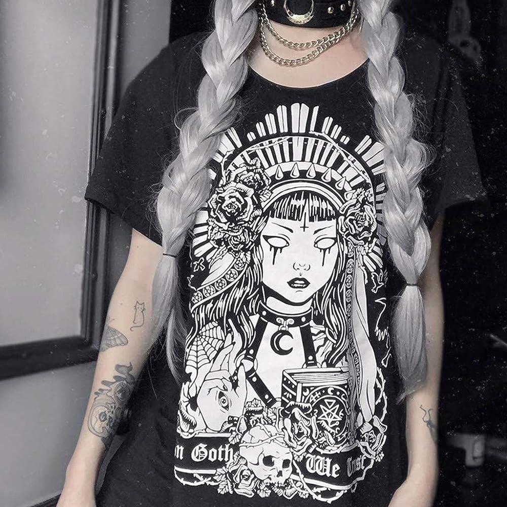 Women/'s Street Punk Gothic Style Casual Retro Printed Short Sleeve T-Shirt Dress