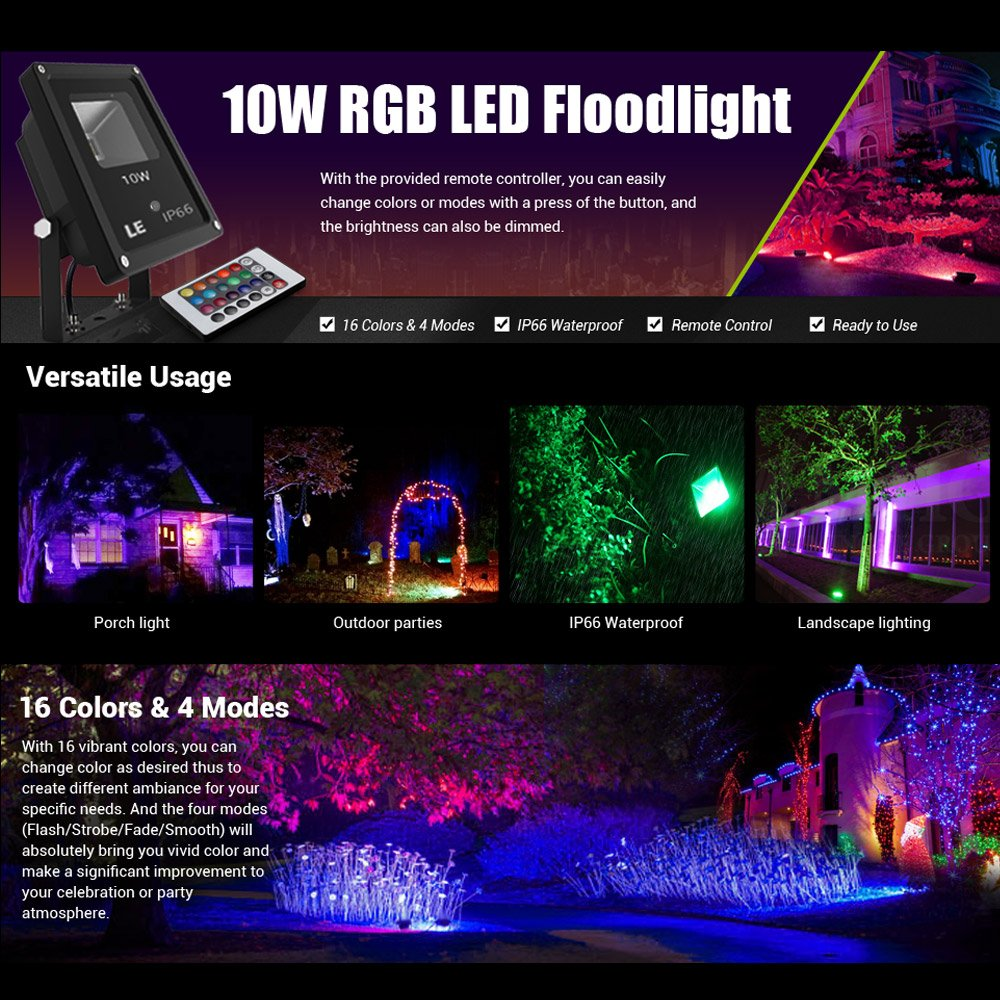 LE 10W RGB LED Flood Lights,Remote Control,Colour Changing LED ...