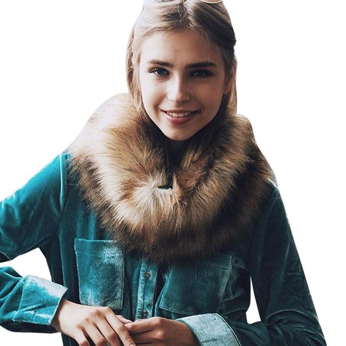 Cuello de pelo,Morwind Abrigo de piel de imitación cálida bufanda chal de invierno abrigo