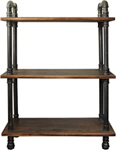 "Barnyard Designs Furniture 3-Tier Bookcase, Solid Pine Open Wood Shelves, Rustic Modern Industrial Metal and Wood Style Bookshelf, 38.5"" x 29.5""x 11.75"""