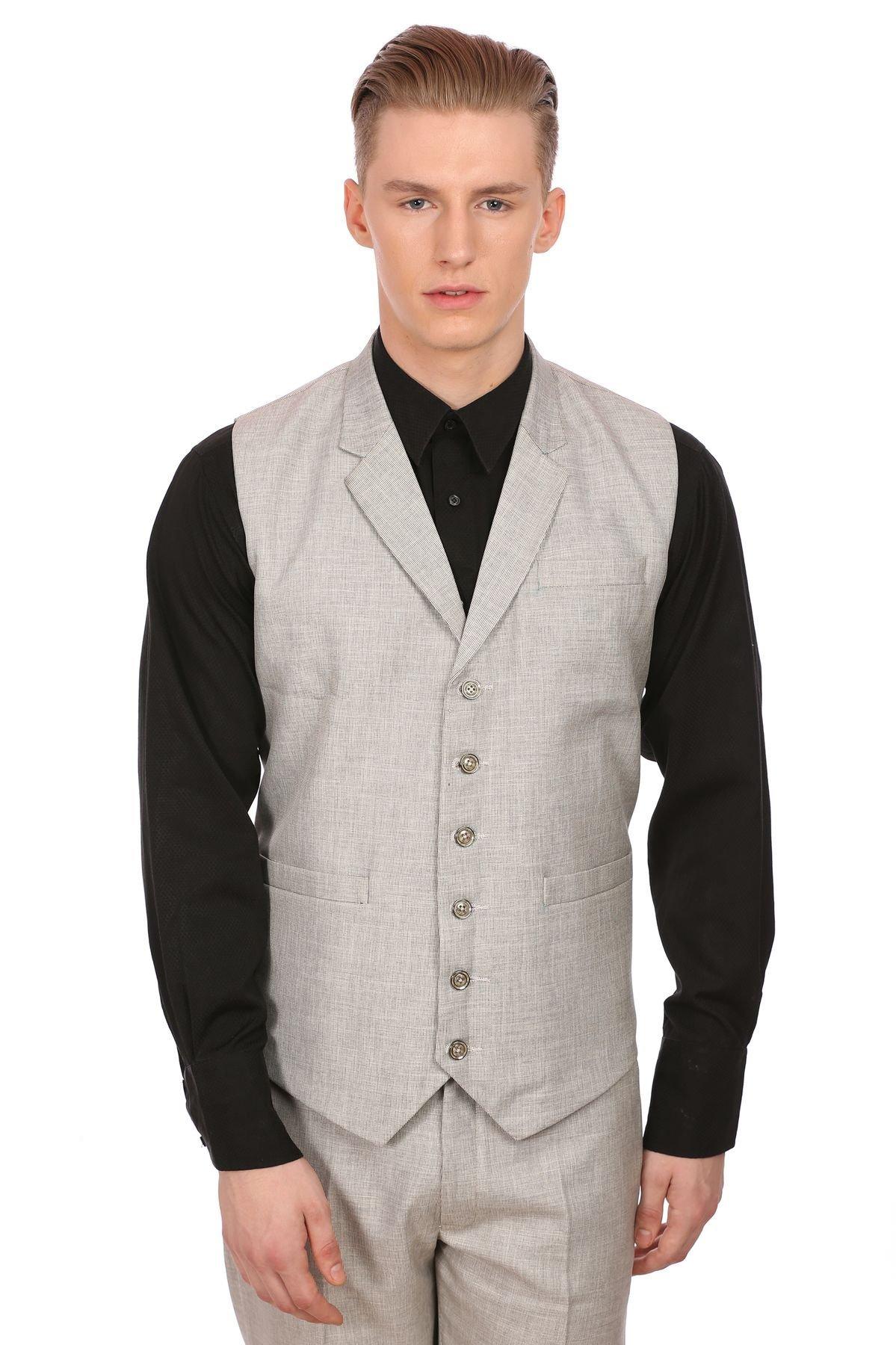 WINTAGE Men's Linen Blend Notch Lapel Grey Vest,40/ M