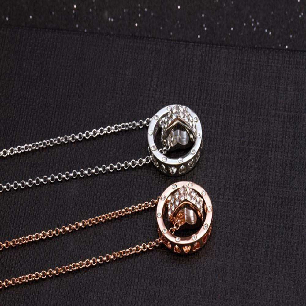 cushang Mens Pendant Woman Luck Jewelry Heart-Shaped Pendant Clavicle Chain Necklace Jewelry