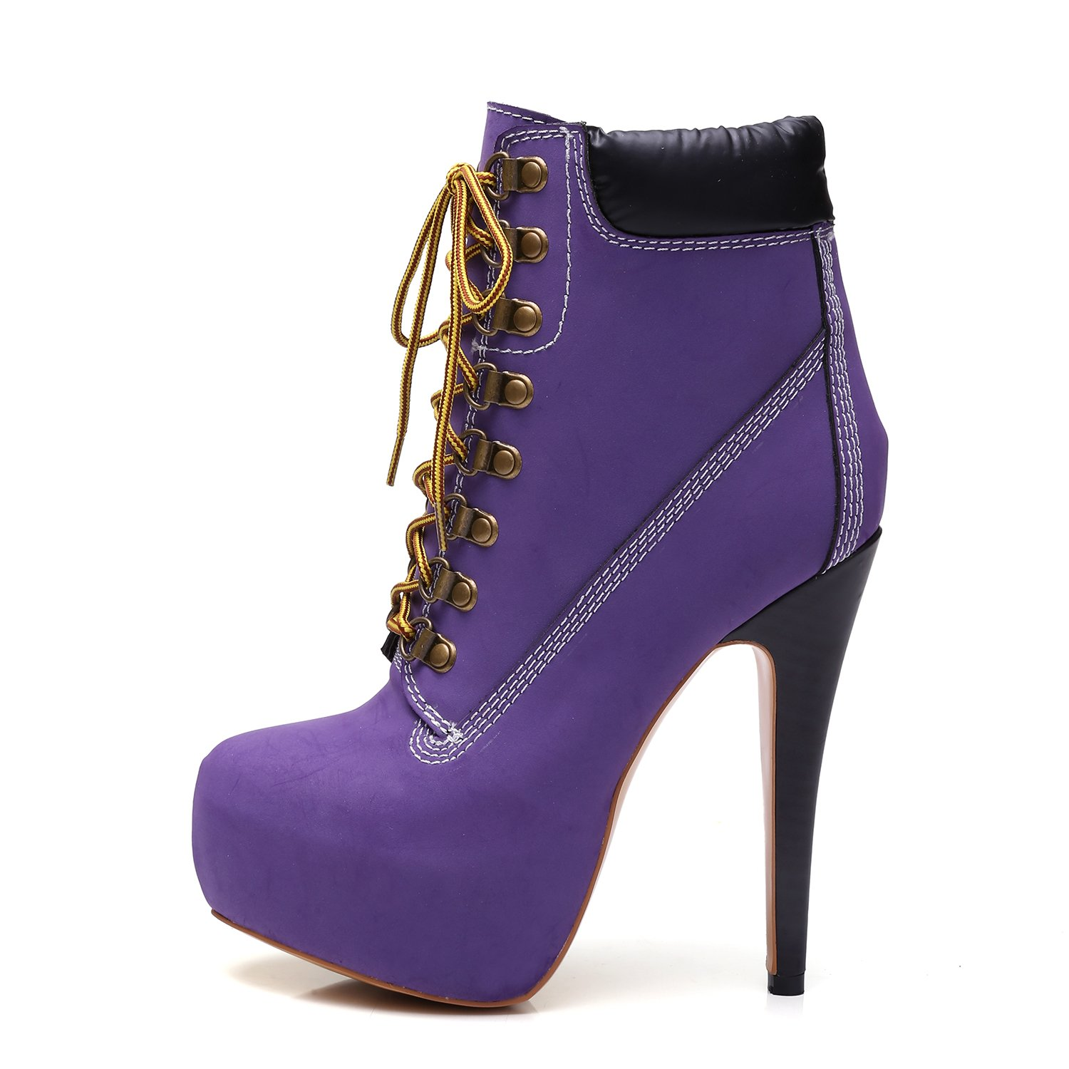 onlymaker Women's Rivet Studded Platform High Heel Pointed Toe Lace up Ankle Boots (9.5 B(M) US, Purple)