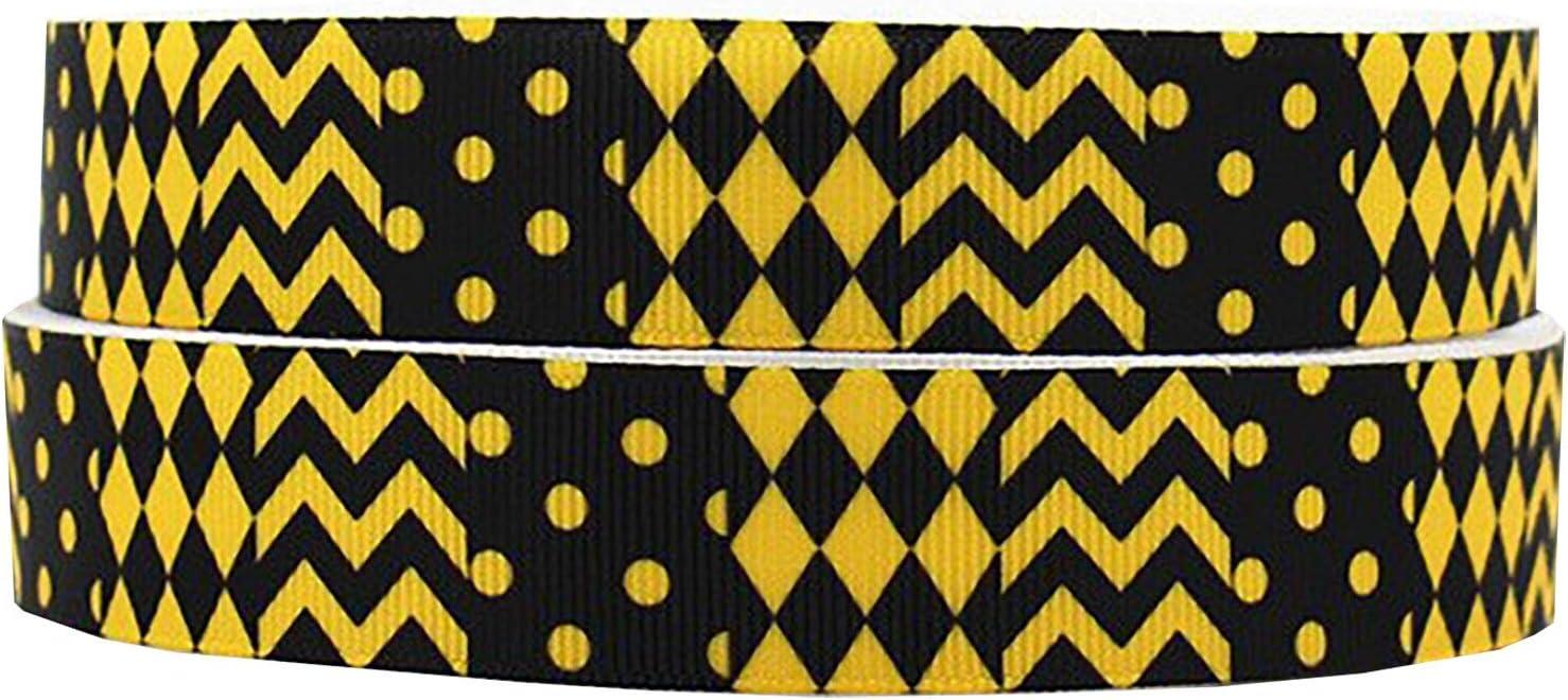 "7//8/"" Grosgrain Ribbon Yellow Black Chevron Dotted Bumble Bee Print DIY Hair Bows"