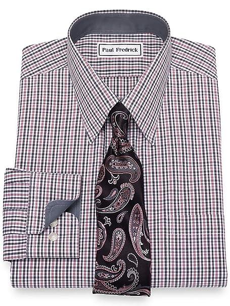 Paul Fredrick Mens Non-Iron Cotton Tattersall Button Down Collar Dress Shirt