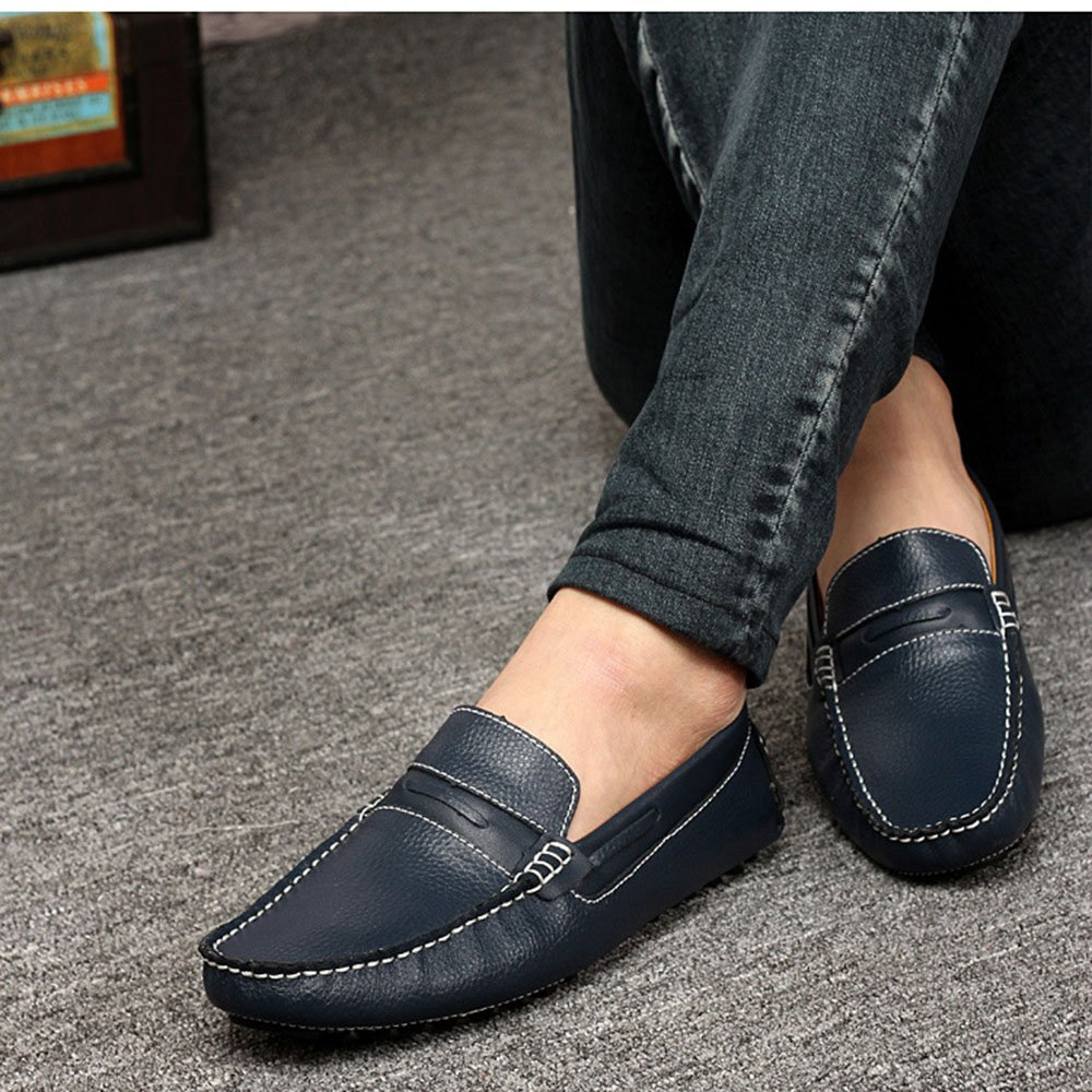 AFCITY Herren Blau Soft Leder Breathable Freizeitschuhe Blau Herren Braun Personalisierte Schuhe Mokassins Klassischer Stiefelschuh Blau 99f157